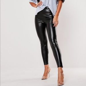 NWT Missguided black faux leather leggings